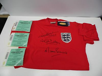 Signed Toffs Vintage England Shirt by Jack Charlton, Martin Peters, Geoff Hurst
