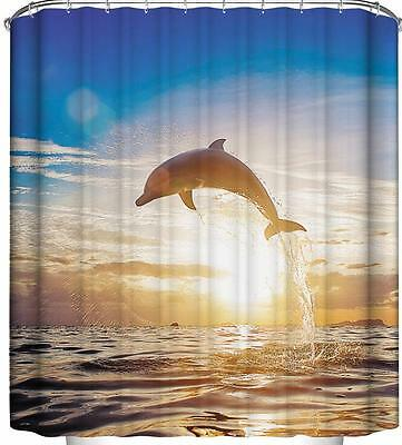 Dolphin Swimming Jumping with Setting Sun Bathroom Shower Curtain Polyester