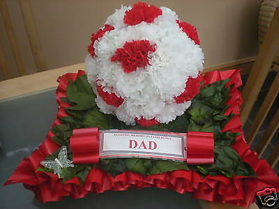 Artificial Silk Flower Football Wreath Tribute Funeral Grave Memorial Any Team
