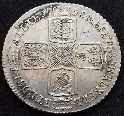 1758 Shilling. Good Very Fine With Underlying Brilliance.