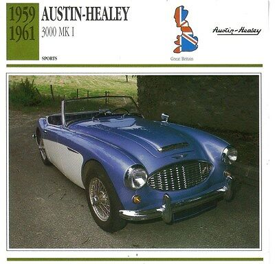 CLASSIC Cars Fact & photo reprint picture card AUSTIN HEALEY 3000 Mk 1 Sports