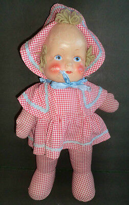 """Vintage Cloth 18"""" Tall Doll Celluloid Face Mask Red Gingham Dress Bonnet"""