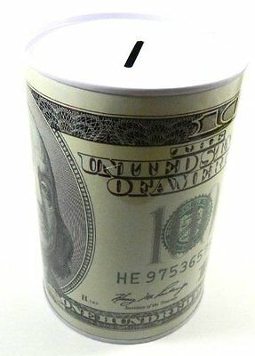 100 Dollar Bill Decorated Tin Money Bank
