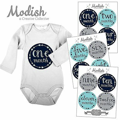 12 Monthly Baby Stickers, Baby Boy, Baby Belly Stickers, Baby Month First #1N2