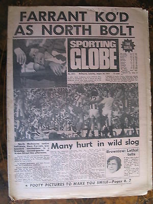 Sporting Globe    AUGUST 24 1974 Gary Farrant North Melbourne