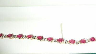 Beautiful 9ct gold Ruby and Diamond bracelet - NEW 7.6 grams