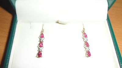 Beautiful 9ct gold Ruby and Diamond earrings - NEW 2.4 GRAMS