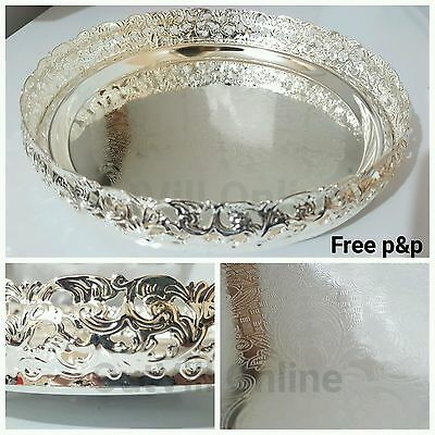 Silver Plated Indian Round Gallery Tray Plate Paandan Paan Leaf Tea Tray Biscuit