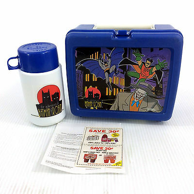Adventures Of Batman & Robin Lunch Box & Thermos Vintage 90s Animated Series '95