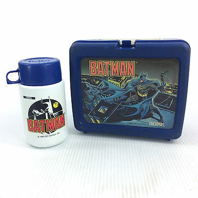 Vintage 90s Batman Lunch Box & Matching Thermos Animated 1991 Blue White Plastic
