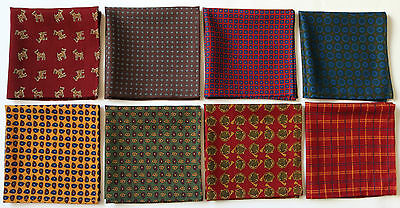 Wool & Silk Blend Hand Printed Pocket Square Handkerchiefs New