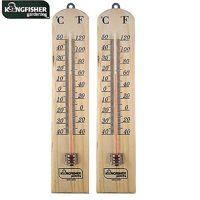 2x New Large 26cm Wooden Wall Thermometer Mounting With C & F Reading In/outdoor