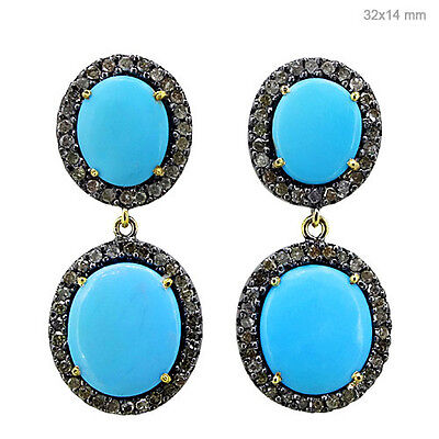 Diamond Pave Turqouise Gemstone 925 Sterling Silver Dangle Earrings Gold Jewelry