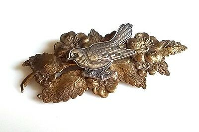 Vintage Brooch Two Tone Brass Color Floral Branch w/ Silver Tone Bird Sparrow