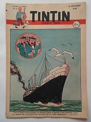 JOURNAL TINTIN n° 8  COUVERTURE DE HERGE  16/12/1948