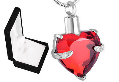 Cremation Ashes Jewellery Urn Small Keepsake Memorial Necklace Red Heart Pendant