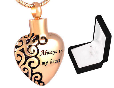 Cremation Ashes Jewellery Urn, Keepsake Necklace Memorial Ash Pendant Gold Heart