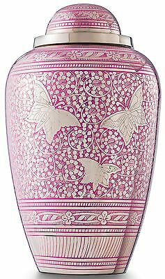 Cremation Urn for Ashes Large, Adult Funeral Memorial Brass Pink Butterfly, SALE