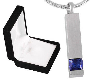 Funeral Memorial Cremation Ashes Jewellery mini keepsake urn Blue Stone Pendant