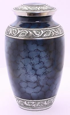 Large Cremation Urn for Ashes Funeral Memorial Remembrance Aluminium Urn Blue