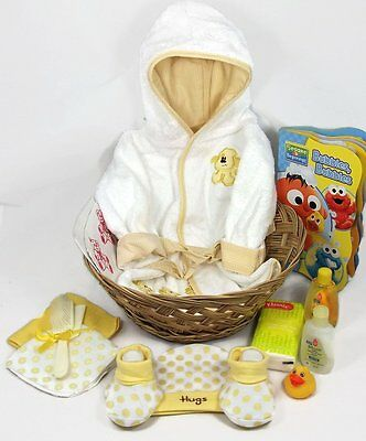 Sunshine Gift Baskets - Baby Bath Robe Gift Set with a Handy Pack Yellow