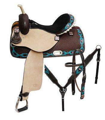 "NEW 15"" 5PC PACKAGE CIRCLE S Barrel saddle set with TEAL Painted Navajo Diamond!"