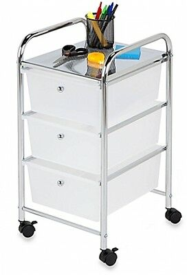 Storage Cart Organizer 3-Drawer Container Box Rolling  Shelf Home Cabinet Steel