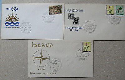Iceland # 3 covers with special cancels.
