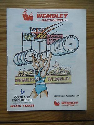 1988 ''select Stakes'' Greyhound Racecard - Wembley