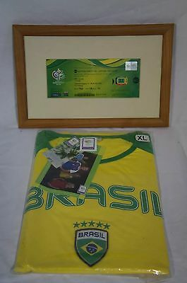 Brasil World cup t-shirt (XL) and FIFE Germany 2006 World Cup ticket framed