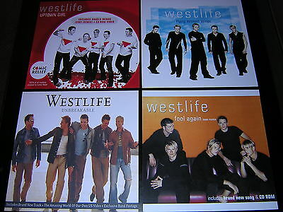 "4 Westlife Promotional 12"" X 12"" Cards"