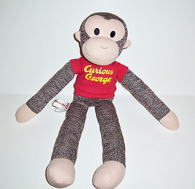 Schylling Curious George Brown Sock Monkey Plush Stuffed Animal Toy