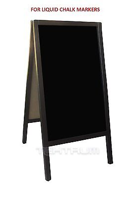 "TEKTRUM DOUBLE-SIDE SIDEWALK A-FRAME DARK WOOD SANDWICH SIGN BOARD 20"" x 40"" FOR"