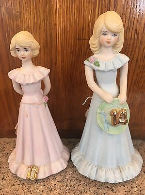 Growing Up Birthday Girls Figurines 1981 Enesco Ages 13 & 14 Lot Vintage