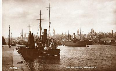 The Harbour Aberdeen unused RP old pc 1935 Valentines