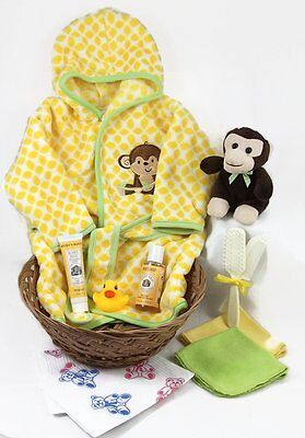 Sunshine Gift Baskets - Monkey Time - 11 Piece Baby Bath Time Robe and Slippers