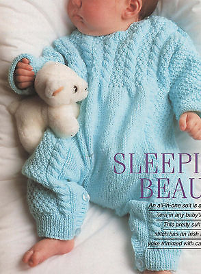 Knitting Pattern-Baby Cable all in one sleep suit in DK wool- fits 46-51cm chest