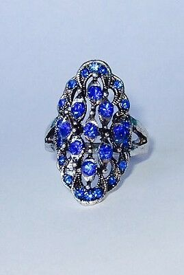 Art Deco Style Silver Ring with Bright Blue Rhinestones Size 8.5