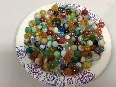 115 Vintage 70's Era Marbles Mixed Lot Clear Swirl Multi Colored 2 Large Marbles