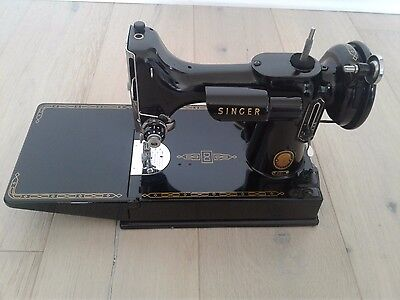 1954 Singer Featherweight  221 Sewing Machine w Footpedal & Case -  MUST SEE