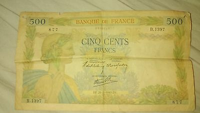 500 French Francs Banknote (1940)