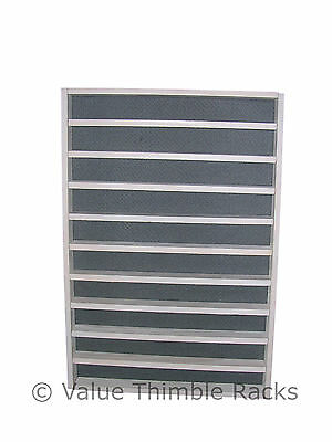 100 thimble display rack in white wood and light grey felt back