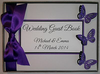 Luxury A5 Personalised Triple Butterfly Wedding Guest Book 58 Pages Purple Pink