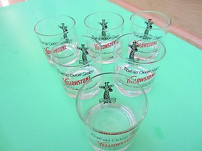 Vintage Yellowstone Kentucky Bourbon Glasses Set of 6 Excellent Condition