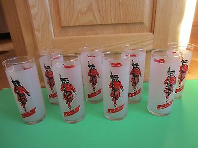 Vintage Beefeater Lime and Tonic Glasses Tumblers Set of 8 Excellent Condition
