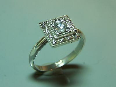 Sterling silver 1/3ct VVS ART DECO antique 1920's sparkling cz ring size 7 AAA