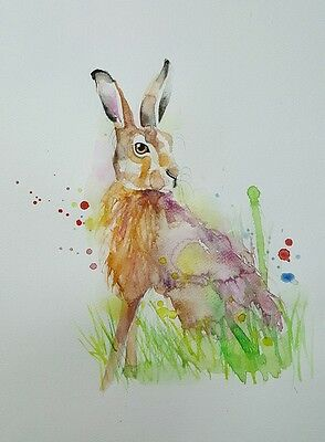 """ELLE SMITH ART. ORIGINAL RARE SIGNED LARGE WATERCOLOUR PAINTING.16x12"""" """"HARE"""""""