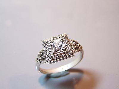 Sterling silver 0.30ct VVS ART DECO antique 1920's sparkling cz ring size 7 AAA