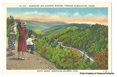 Newfound Gap Highway Winding through Smoky Mountains Oconaluftee Gorge postcard