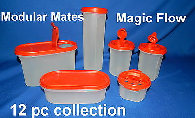 Tupperware Modular Mates & Magic Flow 12-Piece Collection Poppy Red Lids